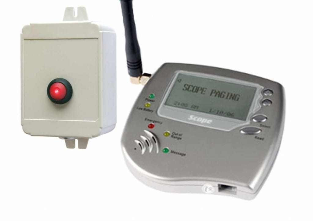 Wireless panic button direct to pager - part of a panic button alarm system